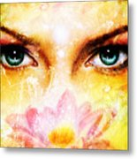 Pair Of Beautiful Blue Women Eyes Beaming Up Enchanting From Behind A Blooming Rose Lotus Flower Metal Print