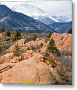 Pikes Peak From Red Rocks Canyon Metal Print