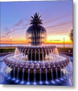 Pineapple Fountain Charleston Sc Sunrise Metal Print by Dustin K Ryan