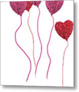 Pink Roses In Heart Shape Balloons  Metal Print by Michael Ledray