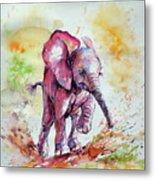 Playing Elephant Baby Metal Print