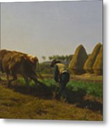 Cattle At Rest On A Hillside In The Alps Metal Print