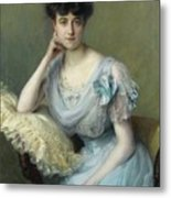 Portrait Of A Young Woman In A Blue Dress Metal Print