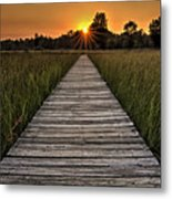 Prairie Boardwalk Sunset Metal Print