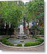 Public Fountain And Gardens In Palma Majorca Spain Metal Print
