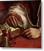 Raphael Pope Leo X With Cardinals Giulio De  Medici And Luigi De  Rossi  Metal Print