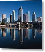 Reflection Of Skyscrapers On Water Metal Print