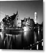 River Dijver And The Belfort At Night, Rozenhoedkaai, Bruges Metal Print