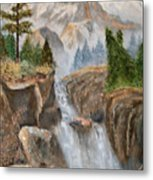 Rocky Mountain Waterfall Metal Print by Alanna Hug-McAnnally