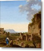 Roman Landscape With Ruins And Travellers Metal Print