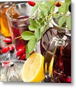Rosehip Tea With Honey And Lemon In Glass Metal Print