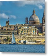Sail Boat And Cathedral Metal Print