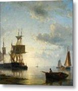 Sailing Ships At Dusk Metal Print