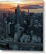 San Francisco City Skyline At Sunset Aerial Metal Print