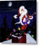 Santa Plays Guitar In A Snowstorm Metal Print