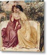 Sappho And Erinna In A Garden At Mytilene Metal Print