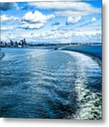 Seattle Washington Cityscape Skyline On Partly Cloudy Day Metal Print