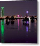 Skyline Of Dallas, Texas At Night Across Flooded Trinity River Metal Print