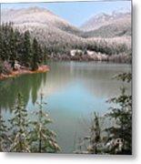 Snowy Green Lake Sunset Whistler B.c Canada Metal Print