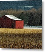 Snowy Red Barn In Winter Metal Print