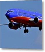 Southwest Airlines Airplane In Flight Metal Print