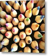 Stack Of Colored Pencils Metal Print