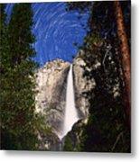 Star Trails At Yosemite Falls Metal Print