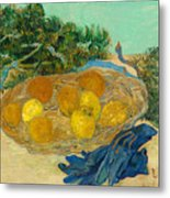 Still Life Of Oranges And Lemons With Blue Gloves Metal Print