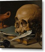 Still Life With A Skull And A Writing Quill Metal Print