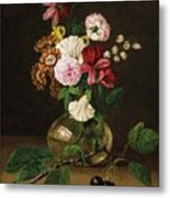 Still Life With Flowers In A Glass Vase And Cherry Twig Metal Print