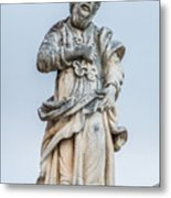 Stone Statue In The Old Town Perast  Metal Print