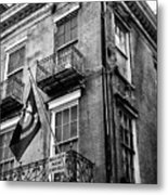 2 Story Building New Orleans Black White  Metal Print
