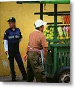 Street Vendor - Antigua Guatemala Metal Print