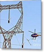 Stringing Power Cable By Helicopter Metal Print