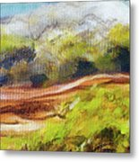 Structure Of Wooden Log Covered With Moss On The Riverside, Closeup Painting Detail. Metal Print