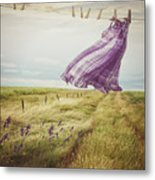 Summer Dress Blowing On Clothesline With Girl Walking Down Path Metal Print
