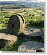 Summer Landscape Image Of Millstones On Top Of Stanage Edge In P Metal Print