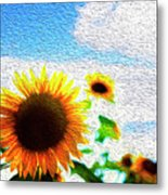 Sunflowers Abstract Metal Print
