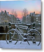 Sunset In Snowy Amsterdam In The Netherlands In Winter Metal Print