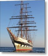 Tall Ship Anchored Off Penzance Metal Print