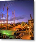 Tall Ships And Yahts Moored In Newport Harbor Metal Print
