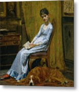 The Artist's Wife And His Setter Dog Metal Print
