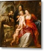 The Holy Family With Saints Francis And Anne And The Infant Saint John The Baptist Metal Print