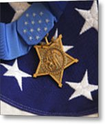 The Medal Of Honor Rests On A Flag Metal Print