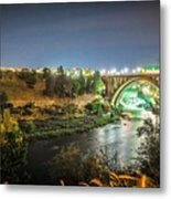 The Monroe Street Dam And Bridge At Night, In Spokane, Washingto Metal Print