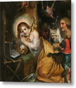 The Penitent Mary Magdalene Visited By The Seven Deadly Sins Metal Print