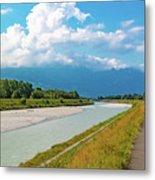 The River Rhine Between Liechtenstien And Switzerland Metal Print