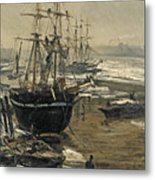 The Thames In Ice Metal Print