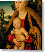 The Virgin And Child Under An Apple Tree Metal Print