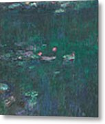 The Water Lilies, Green Reflections Metal Print